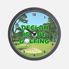 Declan is Out Golfing (Green) Golf Wall Clock