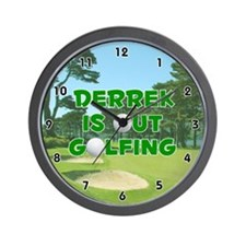 Derrek is Out Golfing (Green) Golf Wall Clock