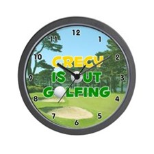 Crecy is Out Golfing (Gold) Golf Wall Clock