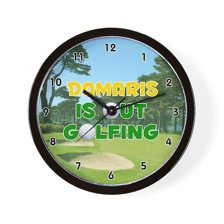 Damaris is Out Golfing (Gold) Golf Wall Clock