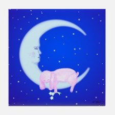 Bunny Sleeping on the Moon Decorative Tile Coaster