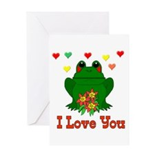 Love Is A Green Frog Greeting Card