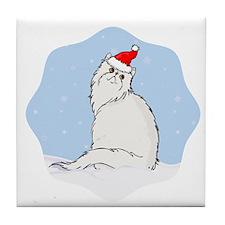 Winter Persian Cat Tile Coaster