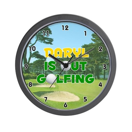Daryl is Out Golfing (Gold) Golf Wall Clock