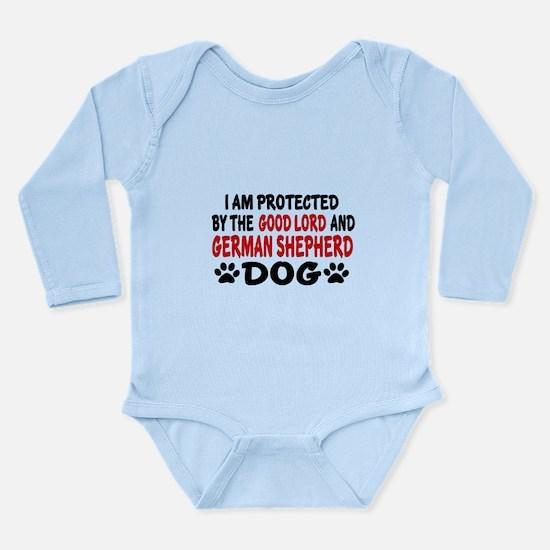Protected By German Sh Long Sleeve Infant Bodysuit