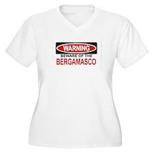 BERGAMASCO Womes Plus-Size V-Neck T-Shirt