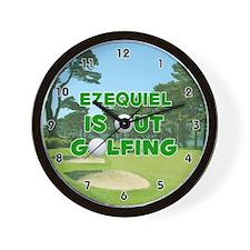 Ezequiel is Out Golfing (Green) Golf Wall Clock