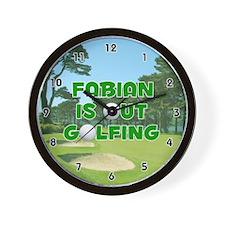 Fabian is Out Golfing (Green) Golf Wall Clock