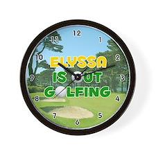 Elyssa is Out Golfing (Gold) Golf Wall Clock
