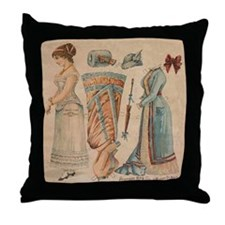 Victorian Paper Doll Throw Pillow