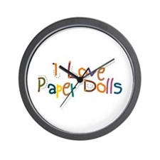 I Love Paper Dolls Wall Clock