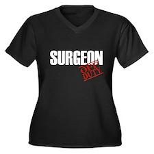 Off Duty Surgeon Women's Plus Size V-Neck Dark T-S