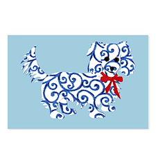 Longhaired Dachshund Christmas Postcards
