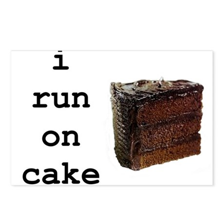i run on cake Postcards (Package of 8)