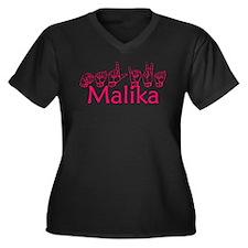 Malika Women's Plus Size V-Neck Dark T-Shirt