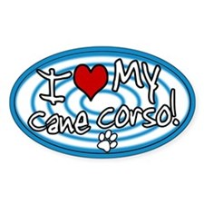 Hypno I Love My Cane Corso Oval Sticker Blue