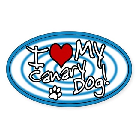 Hypno I Love My Canary Dog Oval Sticker Blue