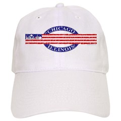 USA Chicago Distressed Flag Baseball Cap