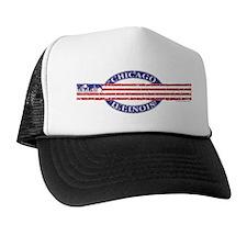 USA Chicago Distressed Flag Trucker Hat