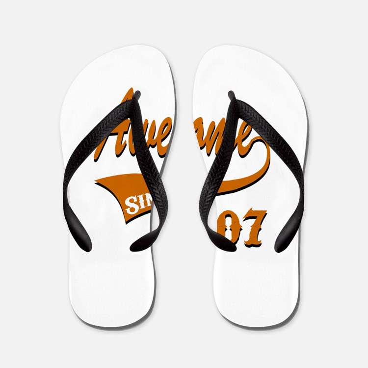 Awesome Since 2007 Birthday Designs Flip Flops