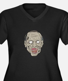 Zombie Head Front Drawing Plus Size T-Shirt