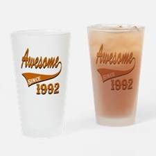 Awesome Since 1992 Birthday Designs Drinking Glass