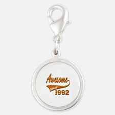 Awesome Since 1992 Birthday De Silver Round Charm