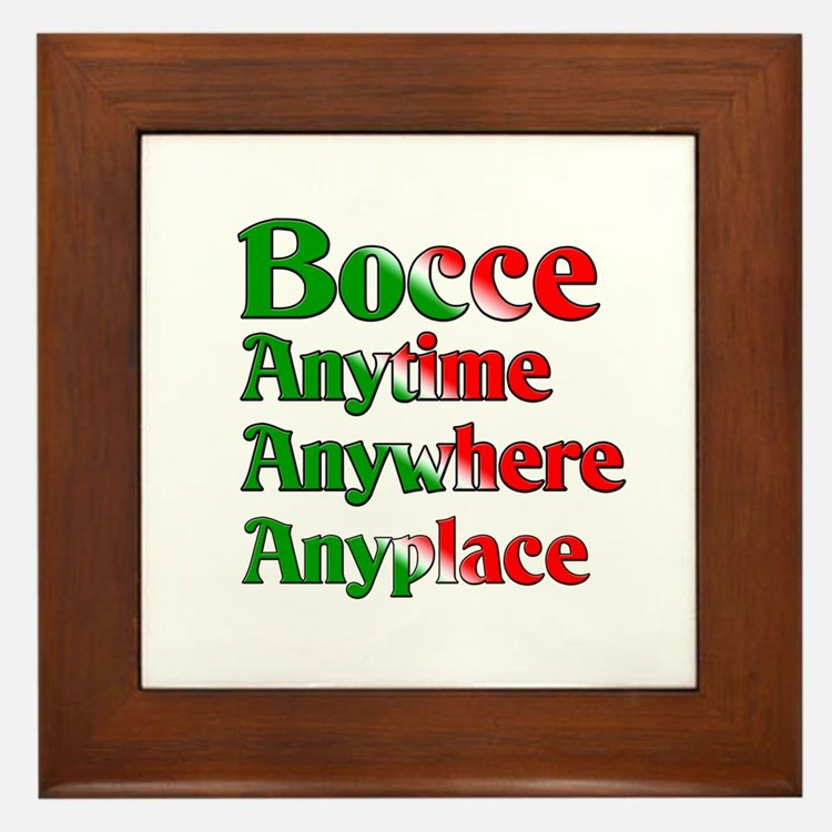 Bocce Anytime Anywhere Anyplace Framed Tile