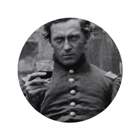 "Civil War Photograph Soldier 3.5"" Button"