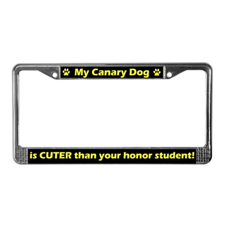 Honor Student Canary Dog License Plate Frame