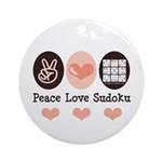 Peace Love Sudoku Ornament (Round)
