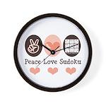 Peace Love Sudoku Wall Clock