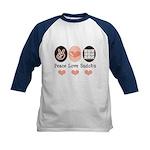 Peace Love Sudoku Kids Baseball Jersey
