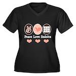 Peace Love Sudoku Women's Plus Size V-Neck Dark T-