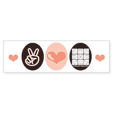 Peace Love Sudoku Bumper Bumper Sticker