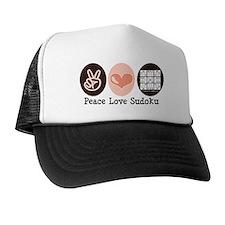 Peace Love Sudoku Trucker Hat