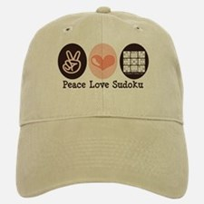 Peace Love Sudoku Baseball Baseball Cap