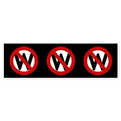 3 Red Slash Through W Bumper Stickers
