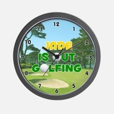 Jade is Out Golfing (Gold) Golf Wall Clock