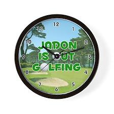 Jadon is Out Golfing (Green) Golf Wall Clock