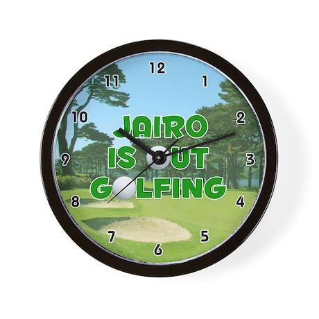 Jairo is Out Golfing (Green) Golf Wall Clock
