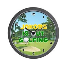 Jakobe is Out Golfing (Gold) Golf Wall Clock