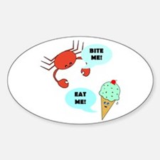 EAT ME BITE ME Oval Decal
