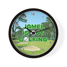 Jamel is Out Golfing (Green) Golf Wall Clock