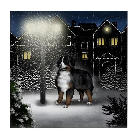 BERNESE MOUNTAIN DOG SNOW CITY Tile Coaster