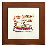 Santa and Candy Cane House Framed Tile