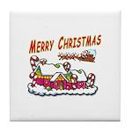 Santa and Candy Cane House Tile Coaster