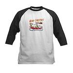 Santa and Candy Cane House Kids Baseball Jersey