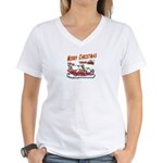 Santa and Candy Cane House Women's V-Neck T-Shirt