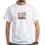 Santa and Candy Cane House White T-Shirt